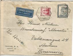 MADRID CC CORREO AEREO CON RARO MAT HEXAGONAL MADRID BURDEOS PARIS 1935 A DINAMARCA TRANSITO POR PARIS Y LLEGADA - Aéreo
