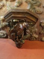 Console En Plâtre Polychrome Style Médiéval Chimère Dragon. - Sculture