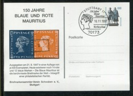 """Bundesrepublik Deutschland / 1997 / Privatpostkarte """"blaue Und Rote Mauritius"""" SSt. Stuttgart (0914) - Privatpostkarten - Gebraucht"""