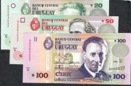 URUGUAY SAME LOW NUMBERS P74b,75b,76b :20,50,100 P.U. 1997-2000 ALL #00003037 UNC. - Uruguay