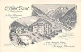VALAIS  GRAND HOTEL TRIENT - GARE CHATELARD - TRIENT, LIGNE DE CHEMIN DE FER MARTIGNY - CHAMONIX  CARTE DESSINEE - VS Wallis