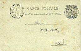 """Sur CP  Entier 10C Obl .du Cachet Octogonal De 1892 """" ANJOUAN COL.FRANC."""" - 1901 - - Anjouan (1892-1912)"""