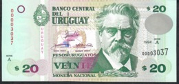 URUGUAY P74a 20 P.U. 1994 LOW NUMBER # 00003037 UNC. - Uruguay