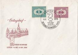DDR - 19-9-1960 - Gelegenheidsstempel 24e Schaak-Olympiade, Leipzig - Schaken/Schach Spielen/chess - M 786-787 - Schaken