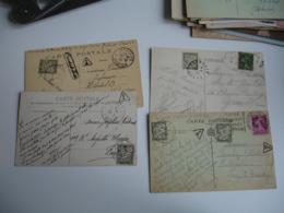 Lot 16 Lettres Taxee Timbre Chiffre Taxe Duval 20 C  Vert  Seul En Paire Obliteration Triangle Ou Autre - Marcofilie (Brieven)