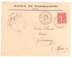COMMERCY-GARE Meuse Lettre Entête Mairie De RAMBUCOURT 50c Semeuse Lignée Yv 199 Ob 1927 - Covers & Documents