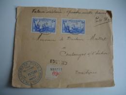 2 Timbre 2 F 50 Bleu Exposition New Yok Sur Devant Lettre Charge - Marcofilie (Brieven)