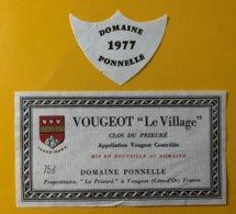 """12113 -  Vougeot """"Le Village"""" Clos Du Prieuré 1977 Domaine Ponnelle - Bourgogne"""