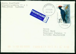 Br Finland Cover Sent To Germany, Crailsheim | Tampere 9.10.2001 | Black Woodpecker - Finland