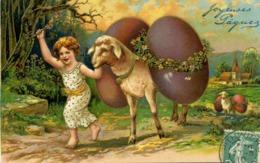 Fantaisie - Joyeuses Pâques - Enfant Avec Un Mouton. - Pâques