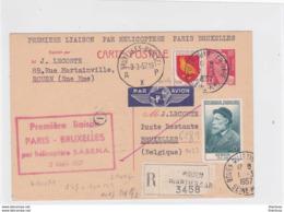 Entier Gandon Rouen Paris Bruxelles Recommandé Première Liaison Helicoptere 1957 - Marcophilie (Lettres)