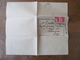 CHEMINS DE FER DE PARIS A LYON ET A LA MEDITERRANEE AUBENAS .PLM COURRIER DU 29 MAI 1940 TIMBRES TYPE PAIX - Historische Dokumente