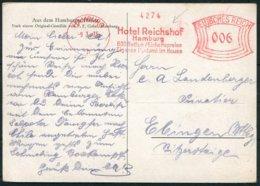 Germany Hamburg 2 X Harbour Hafen Ship Postcards. Hotel Reichshof Franking Machine, Freistempel - Briefe U. Dokumente
