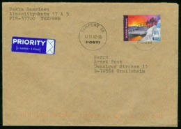 Br Finland Cover Sent To Germany, Crailsheim | Tampere 12.11.2002 | Reindeer, Lapland - Finland
