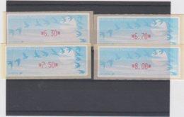 France 4 Vignettes Distributeur Type C LISA  N°YT 208 - 6,30 6,70 7.50 8.00 - 1990 «Oiseaux De Jubert»