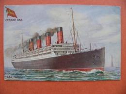 Bateau Paquebot R.M.S Aquitania Cunard Line ( New York Statue De La Liberté Raphael Tuck Oilette - Passagiersschepen