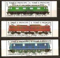 St-Thome Et Principe 1988 Yvertn° 909-914 (°) Oblitéré Cote 6 € Chemin De Fer Treinen Trains - Sao Tome Et Principe