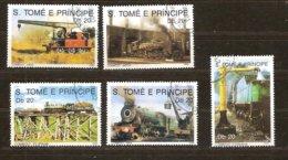 St-Thome Et Principe 1989 Yvertn° 960-964 (°) Oblitéré Cote 5 € Chemin De Fer Treinen Trains - Sao Tome Et Principe