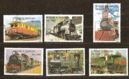St-Thome Et Principe 1995 Yvertn° 1245B-G (°) Oblitéré Cote 18 € Chemin De Fer Treinen Trains - Sao Tome Et Principe