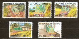 St-Thome Et Principe 1993 Yvertn° 1162-1166 (°) Oblitéré Cote 12,50 € Chemin De Fer Treinen Trains - Sao Tome Et Principe