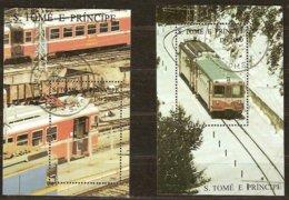 St-Thome Et Principe 1995 Yvertn° Bloc 161 A-B (°) Oblitéré Cote 15 € Chemin De Fer Treinen Trains - Sao Tome Et Principe