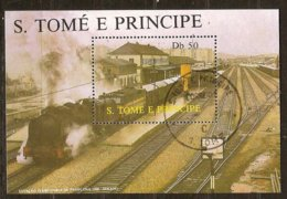 St-Thome Et Principe 1987 Yvertn° Bloc 54 (°) Oblitéré Cote 3 € Chemin De Fer Treinen Trains - Sao Tome Et Principe