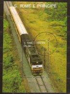 St-Thome Et Principe 1989 Yvertn° Bloc 69 (°) Oblitéré Cote 3 € Chemin De Fer Treinen Trains - Sao Tome Et Principe