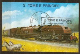 St-Thome Et Principe 1989 Yvertn° Bloc 69A (°) Oblitéré Cote 3 € Chemin De Fer Treinen Trains - Sao Tome Et Principe