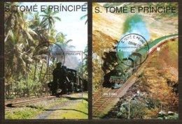 St-Thome Et Principe 1993 Yvertn° Bloc 142-143 (°) Oblitéré Cote 9 € Chemin De Fer Treinen Trains - Sao Tome Et Principe