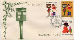 Lote 1190-2F, Colombia, 1969, Navidad, SPD-FDC, Christmas, Mailbox - Colombia