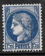 Yvert 372 Maury 372b - 1 F 75 Couleur Bleu Noir - O - 1945-47 Ceres Of Mazelin