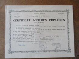 CERTIFICAT D'ETUDES PRIMAIRES LAON LE 15 JUILLET1937 Mlle BURGER ARLETTE NEE A VAILLY SUR AISNE LE 15 JUILLET 1925 - Diplome Und Schulzeugnisse