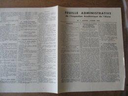 FEUILLE ADMINISTRATIVE DE L'INSPECTION ACADEMIQUE DE L'AISNE N°1 JANVIER-FRVRIER 1944 - Historische Dokumente