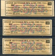 1905 Russia 3x Share / Bond Coupons - Shareholdings