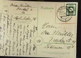 OPD: Fern-Karte Mit 6 Pf OPD Dresden EF Durchst. 10 Aus Freital Vom 19.11.45, Mke Re. Oben Bruch Knr: 43BIIa - Zone Soviétique