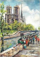 Cpsm Illustrateur, Pedro Vargas, Notre Dame De Paris Et Les Bouquinistes - Illustrateurs & Photographes