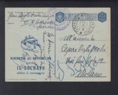Cartolina Per Le Forze Armate Rinunzia Al Superflua 1943 - Postwaardestukken