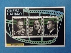 2010 ITALIA FOGLIETTO NUOVO SOUVENIR SHEET MNH** CINEMA OMAGGIO A FELLINI GASSMAN SORDI - 6. 1946-.. Repubblica