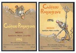 2 étiquettes De Vin: Château Rouquegrave Médoc 1996 (Ptiluc) - Fumetti