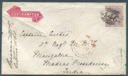 1861 6d Ledbury 446 Duplex Cover - Army Captain, 8th (The King's) Regiment Mangalore India Via London Southampton Madras - Storia Postale