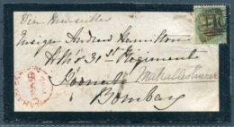 1859 GB 1sh Green SG 71 Mourning Cover - Ensign Hamilton, British Army, Bombay India Redirected Mahabaleshwar Via Poona - Storia Postale