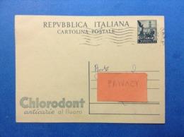 CARTOLINA INTERO POSTALE USATO 20 LIRE CHLORODONT ANTICARIE AL FLUORO VIAGGIATO NEL 1953 - Interi Postali
