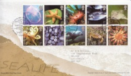 Great Britain Set On Used FDC - Marine Life