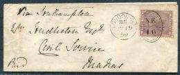1859 GB 6d Cover London NE16  - Civil Service, Madras India Via Southampton. Hackney Church Street U.D.C. - Storia Postale