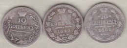 Russie . 3 Pièces De 10 Kopeks 1823, 1848 Et 1861 . Argent. - Russie
