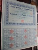 Union Minière Et Commerciale Paris / Action De Cent Francs Au Porteur - N° 019,651 ( Zie/Voir Foto ) ! - Mines