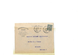 Lettre Perforée PF! Affr Du 130 15c Semeuse Lignée Obl Type04 DE PARIS 28 DU 01.08.1919 Bien - 1903-60 Semeuse Lignée