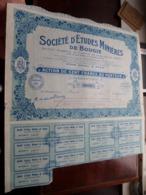 Société D'Etudes Minières De Bougie / Action De Cent Francs Au Porteur - N° 14,621 ( Zie/Voir Foto ) ! - Mines
