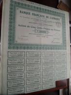 Banque Française De L'AFRIQUE / Action De Cinq Cents Francs Au Porteur 1926 - N° 041,940 ( Zie/Voir Foto ) ! - Banque & Assurance