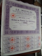 LE MICALAS / Action Au Porteur De 100 Francs - 1921 - N° 46,302 ( Zie/Voir Foto ) ! - Actions & Titres